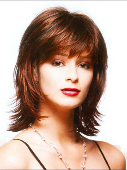 Shoulder Length Straight Women Wig With Bangs