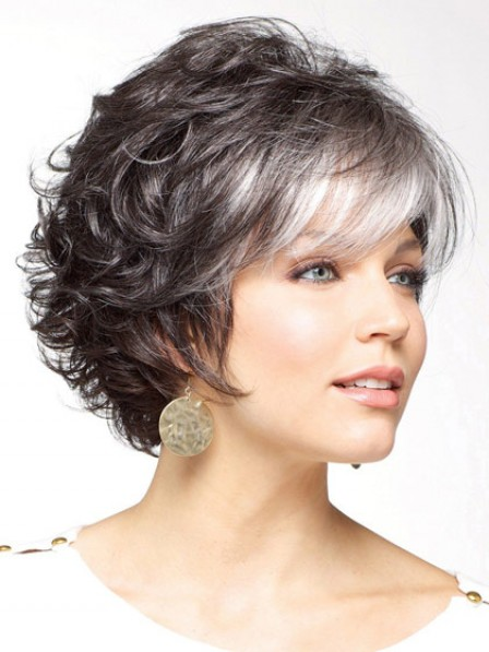 Synthetic Short Grey Curly Wig With Bangs