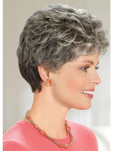 Women's Short Curly Grey Hair Wig