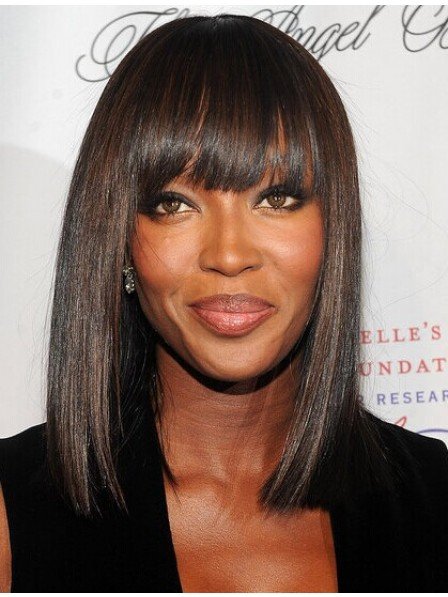 Shoulder Length Cut Straight Hair Wig With Full Bangs