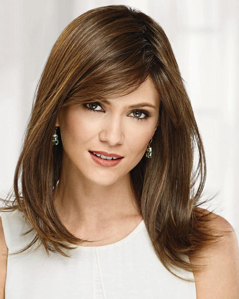 Brown Shoulder-Length Bob Wigs In Heat-Stylable Synthetic ...