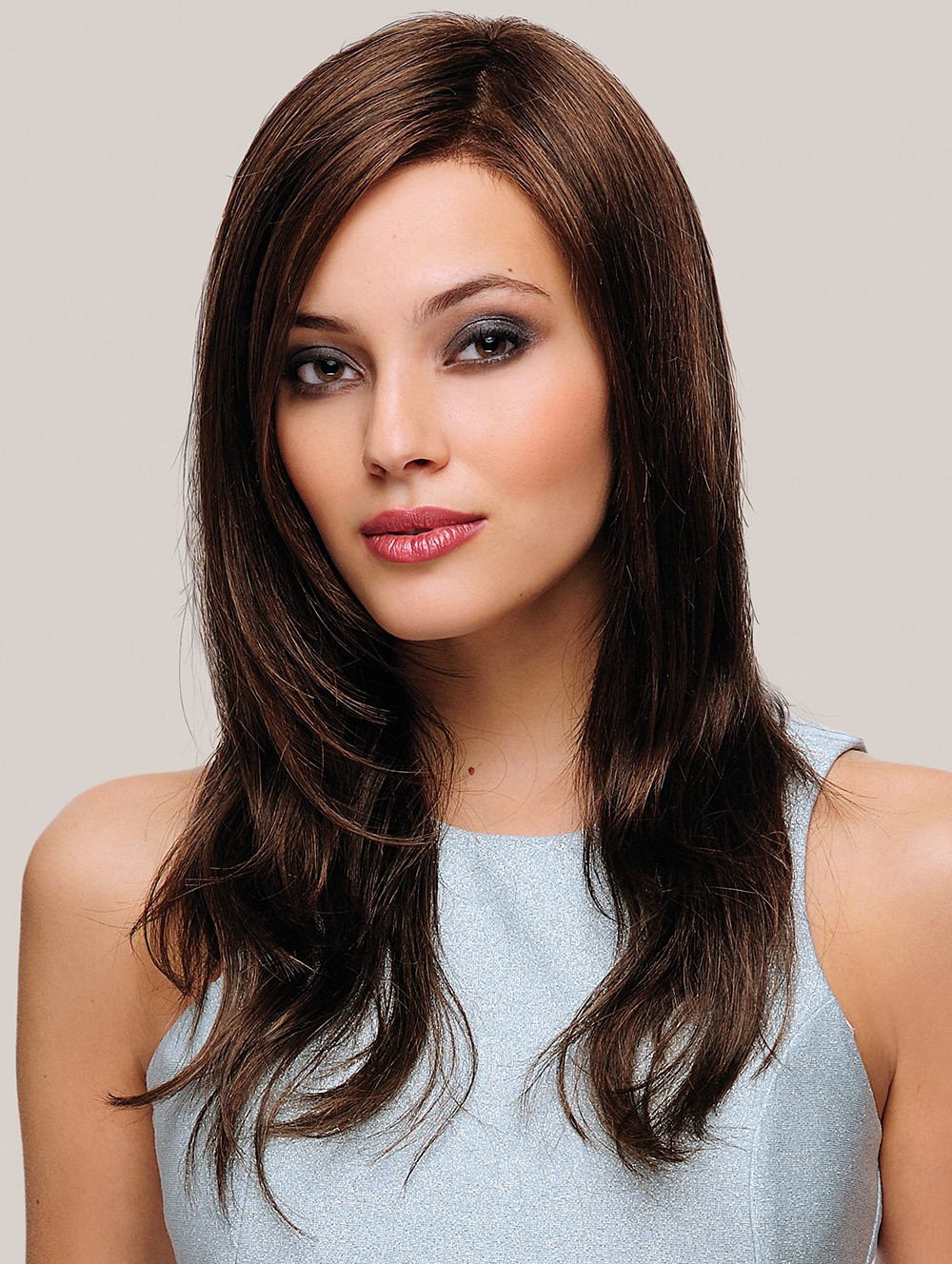 Long Brown Straight Human Hair Lace Front Mono Top Wigs