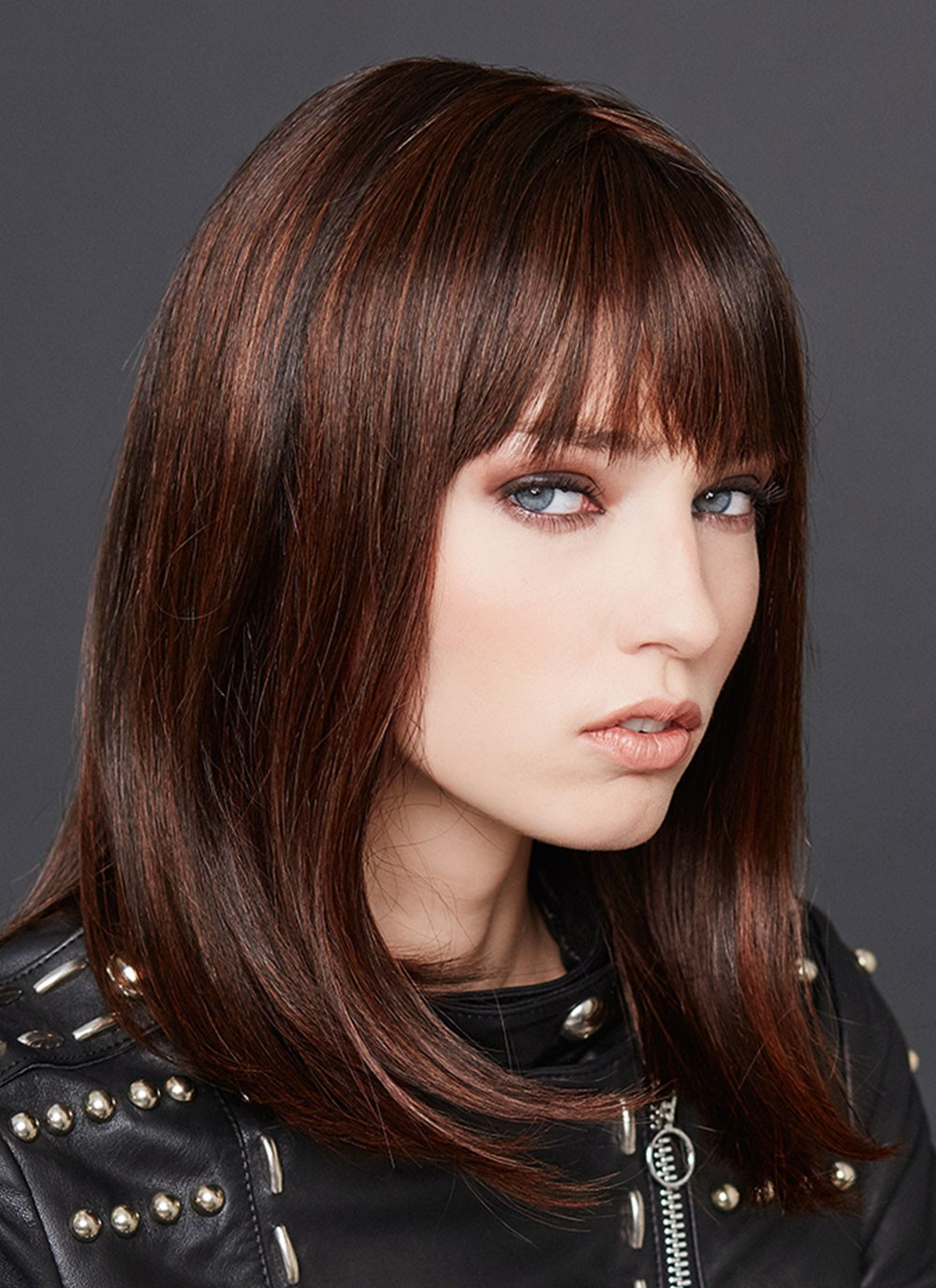 Mid Length Straight Human Hair Wigs With Full Bang Best