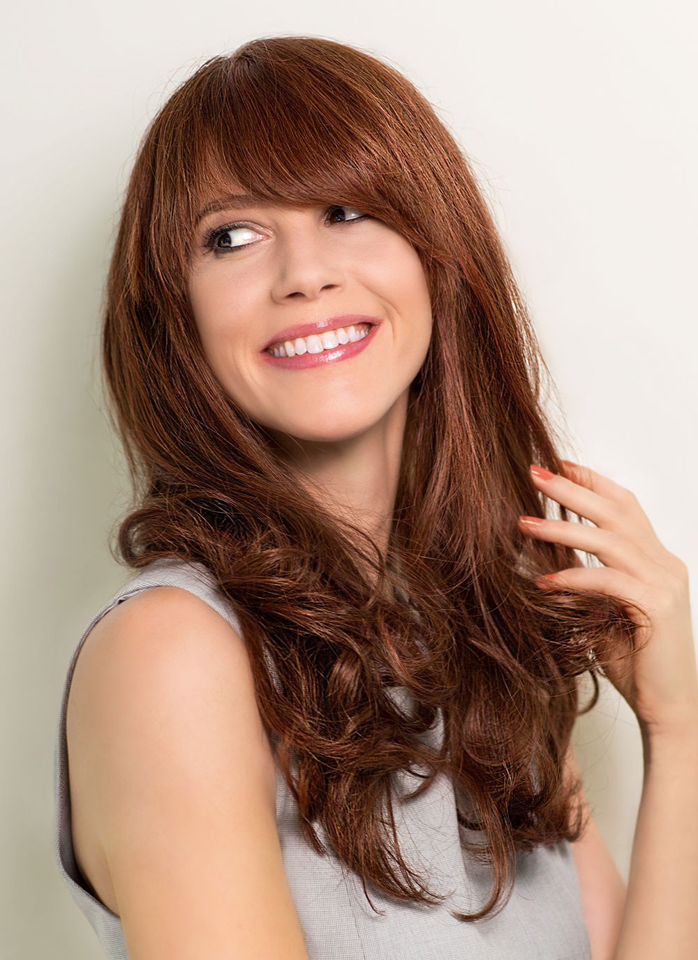 Natural Long Wavy Human Hair Brown Wigs With Bangs, Best