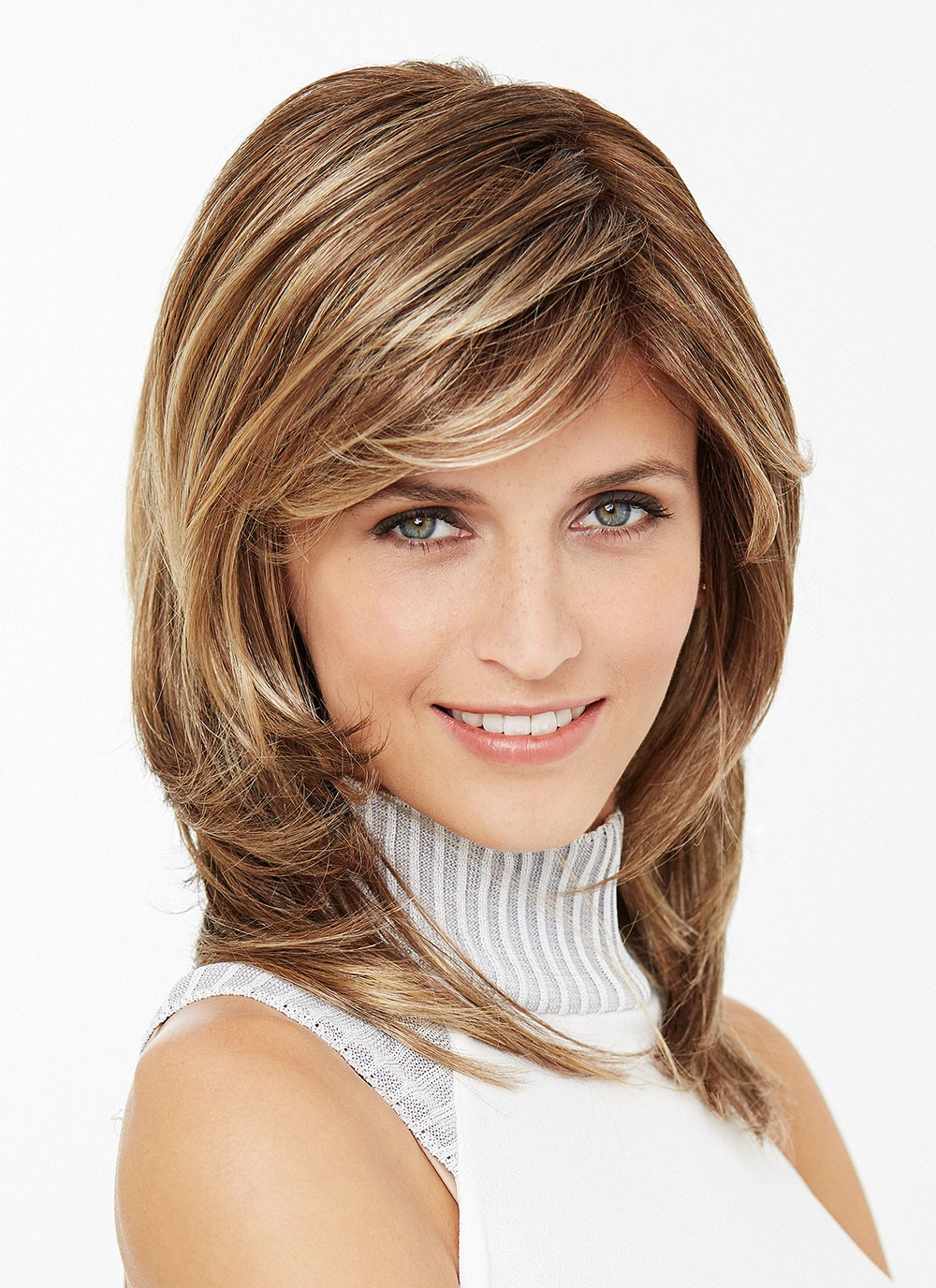 55d4a95ac Shoulder Length Straight Layered Synthetic Hair Wigs with Side Bangs, Best  Wigs Online Sale - Rewigs.com