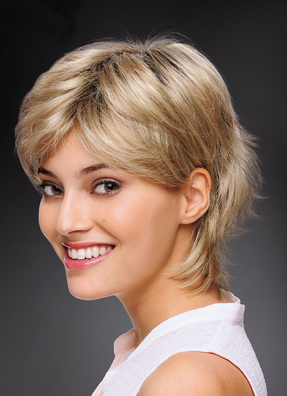Fashionable Short Cut Blonde Synthetic Hair Ladies Wigs, Best Wigs Online Sale - Rewigs.com