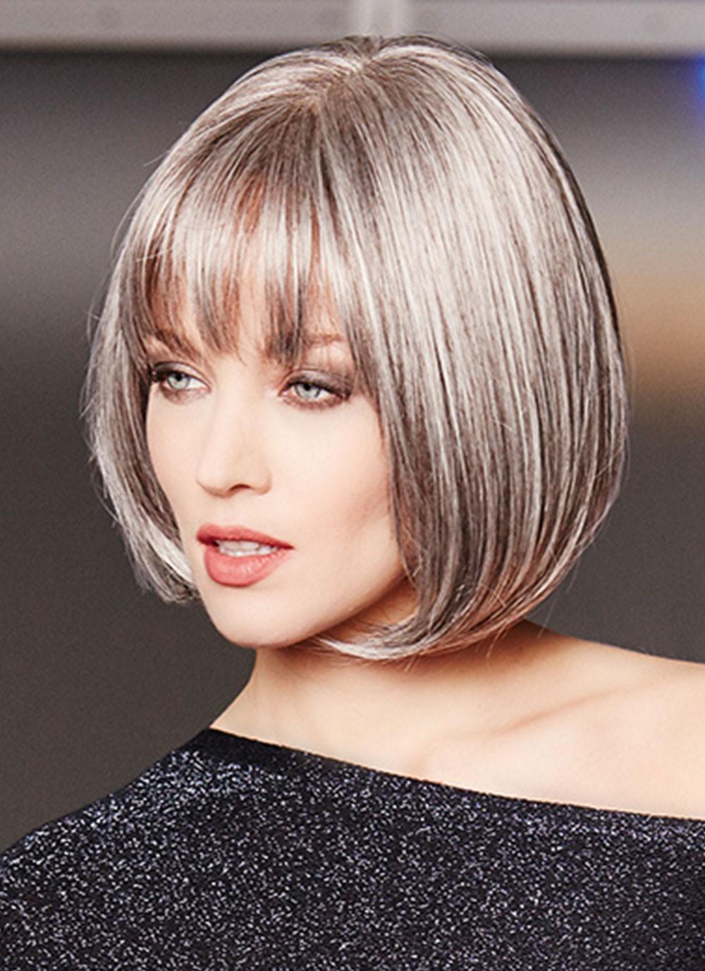 Lace Front Mono Top Sleek Grey Bob Wigs Best Wigs Online