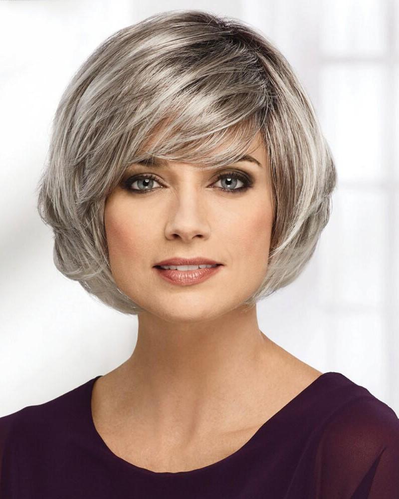 medium bob style grey hair wig