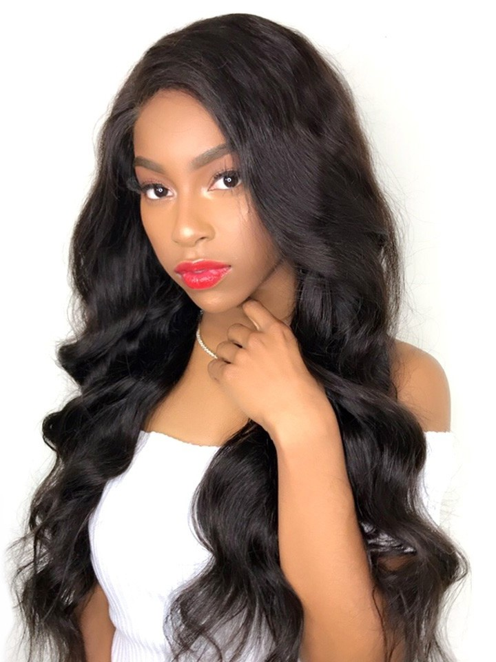 density hair human wigs inch wave body lace front peruvian closure natural glueless transparent length 13x6 extension quick