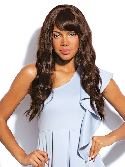 Angled Brown Water Wavy Hairstyle Long Hair Wigs With Bangs