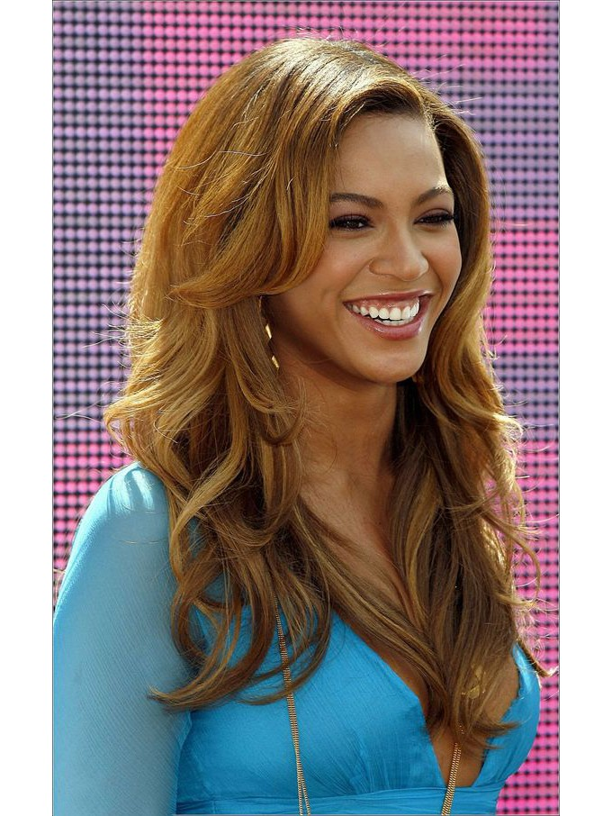 Beyonce's Blonde Curly Long Hair Synthetic Fiber Wig