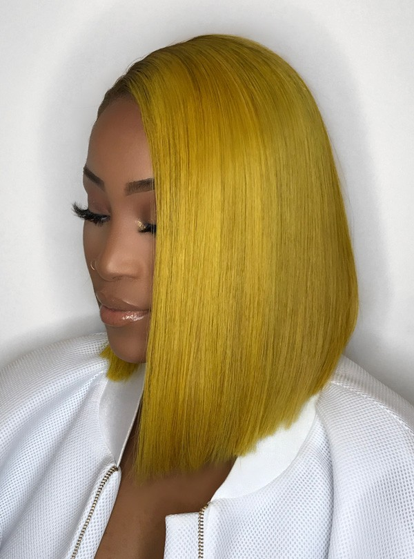 Bronze Yellow BOB Hair Full Lace Wig