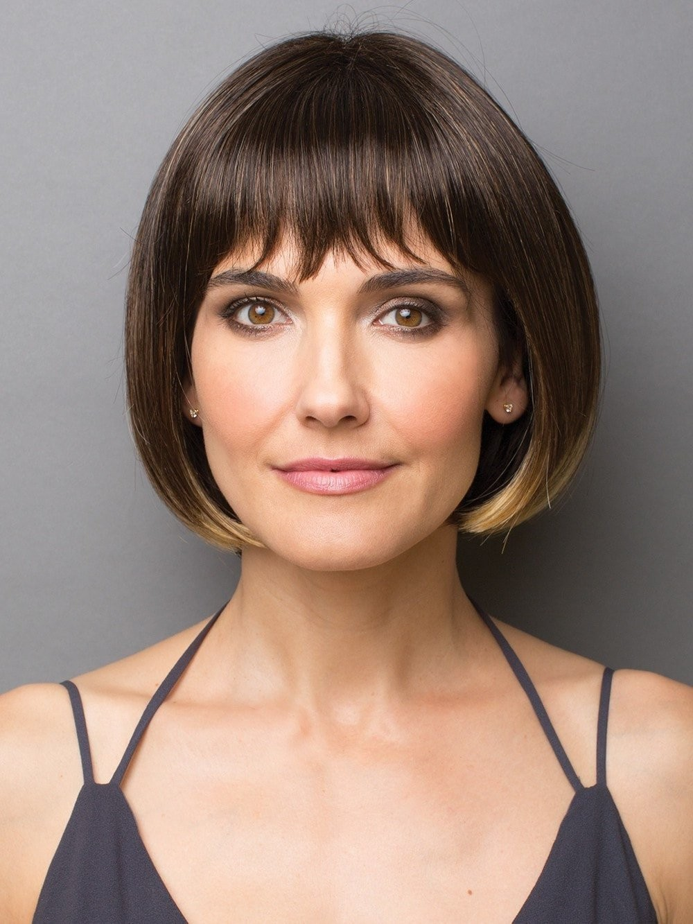 chin length bangs are a part of layered hairstyles long layers add classic chin length bob style wigs with full bang best