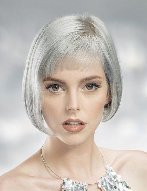 Classic Short Bob Cut Ladies Grey Hair Wig With Bangs