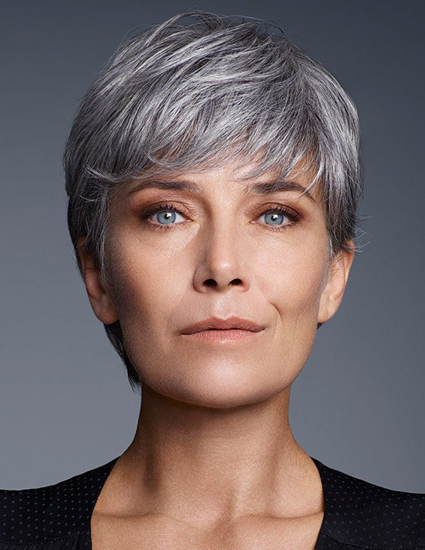 Cute Short Pixie Cut Older Women Grey Hair Wig With Bangs ...