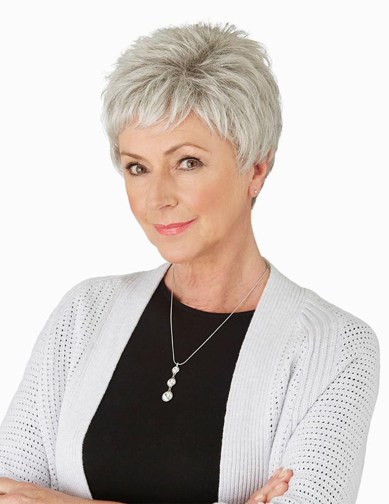cute short pixie grey hair wig for older ladies  rewigs