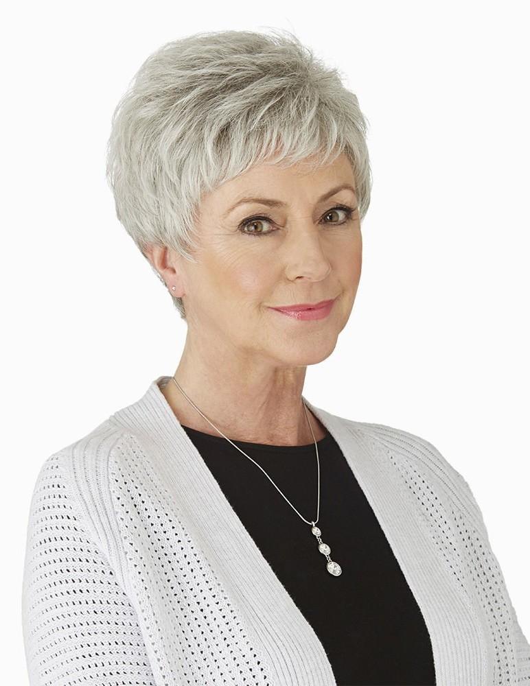 Cute Short Pixie Grey Hair Wig For Older Ladies Rewigs Com