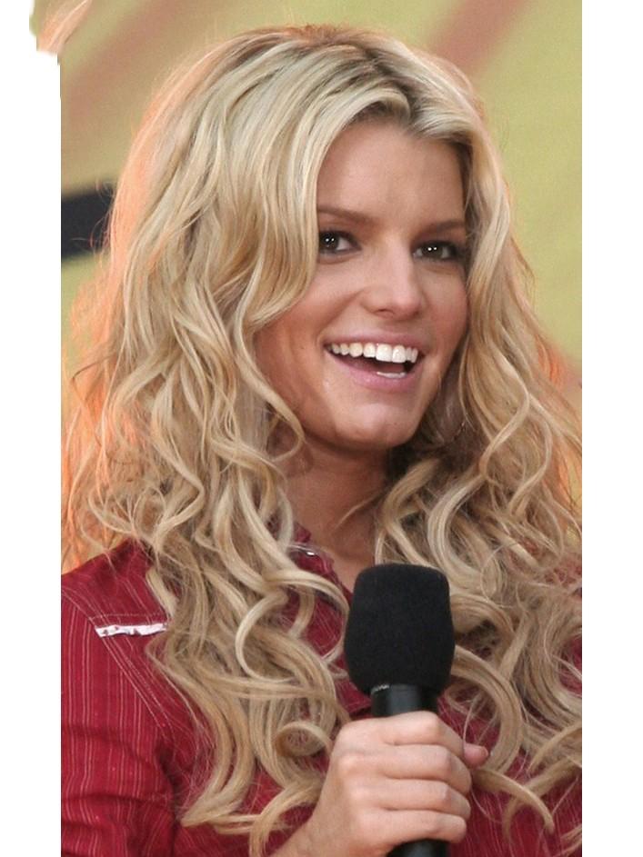 Jessica Simpson Long Wavy Blonde Hair Wig Rewigs