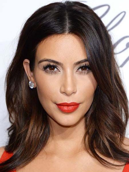 Kim Kardashian Long Loose Wave Lace Front Human Hair Wigs