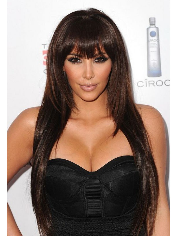 Layered Kim Kardashian S Long Straight Hair Long Wigs With