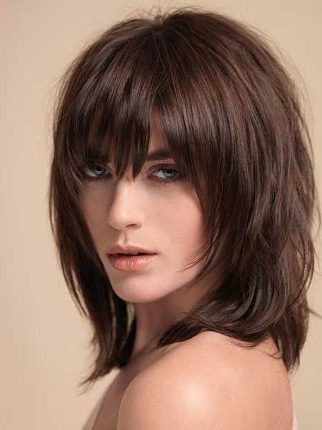 Layered Shag With Full Fringe Middle Length Synthetic