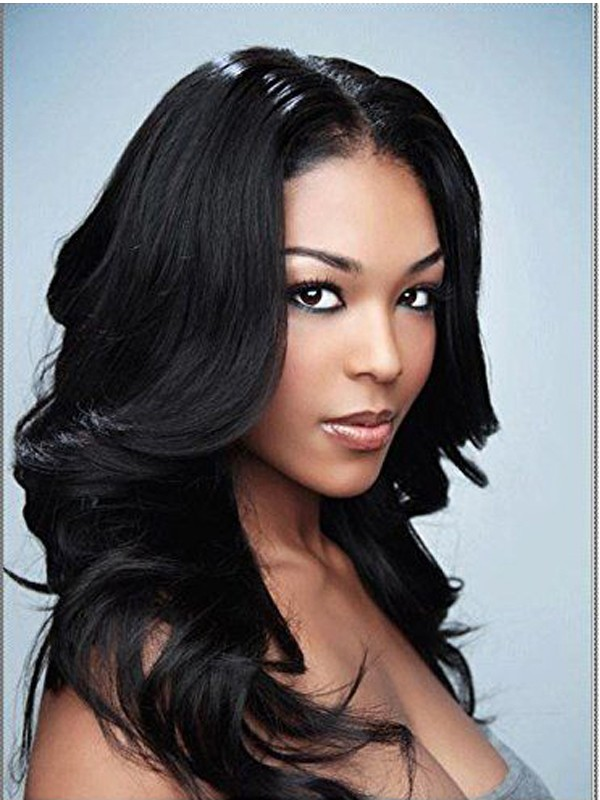 Mature hairstyle middle part rinka body wavy wigs for black women