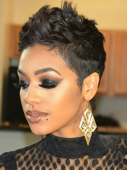 Modern pixie hairstyle for black women