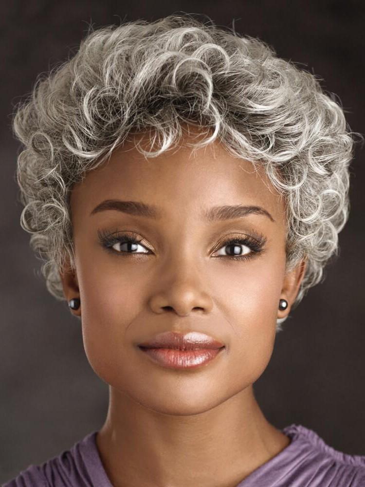 Old Women Grey Curly Short Hair Cap Wigs