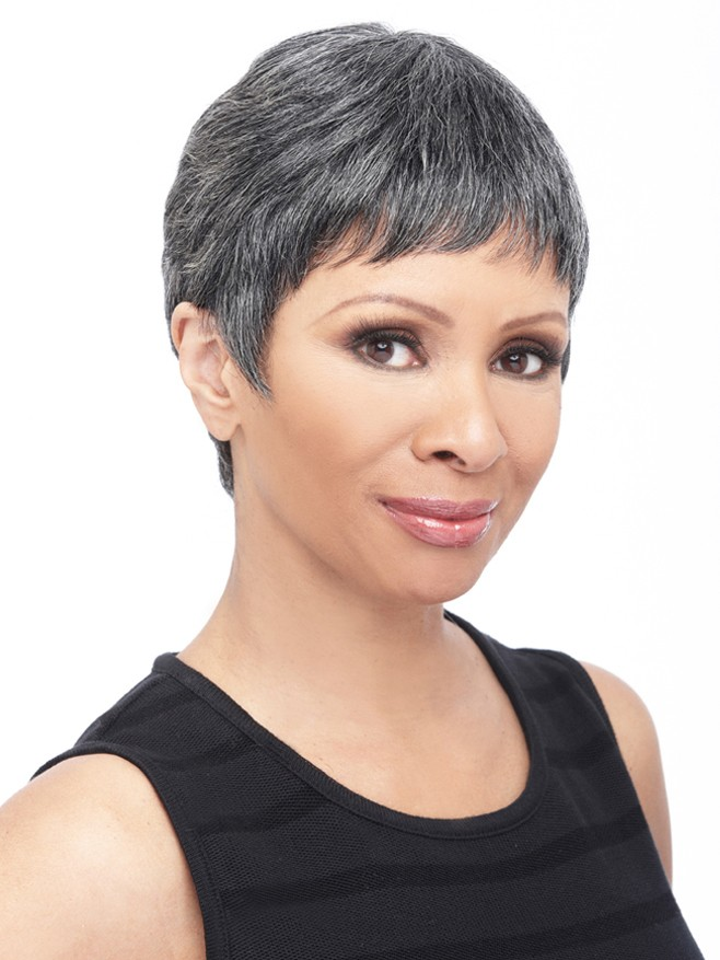 Old women's short pixie grey hairstyle synthetic wigs