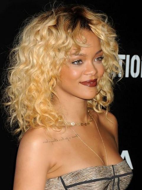 Rihannas Most Iconic Blonde Curly Hair Wig For Black Women Rewigscom