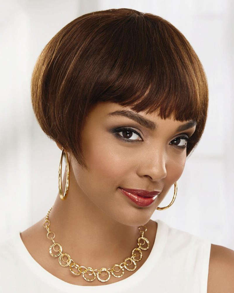 Short Chic 100% Human Hair Bob Wigs With Blunt Brow-Skimming Bangs, Best Wigs Online Sale ...