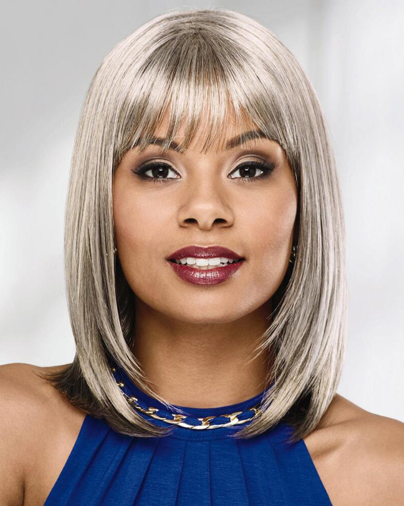 Sleek Chic Shoulder Length Bob Wigs With Brow Skimming