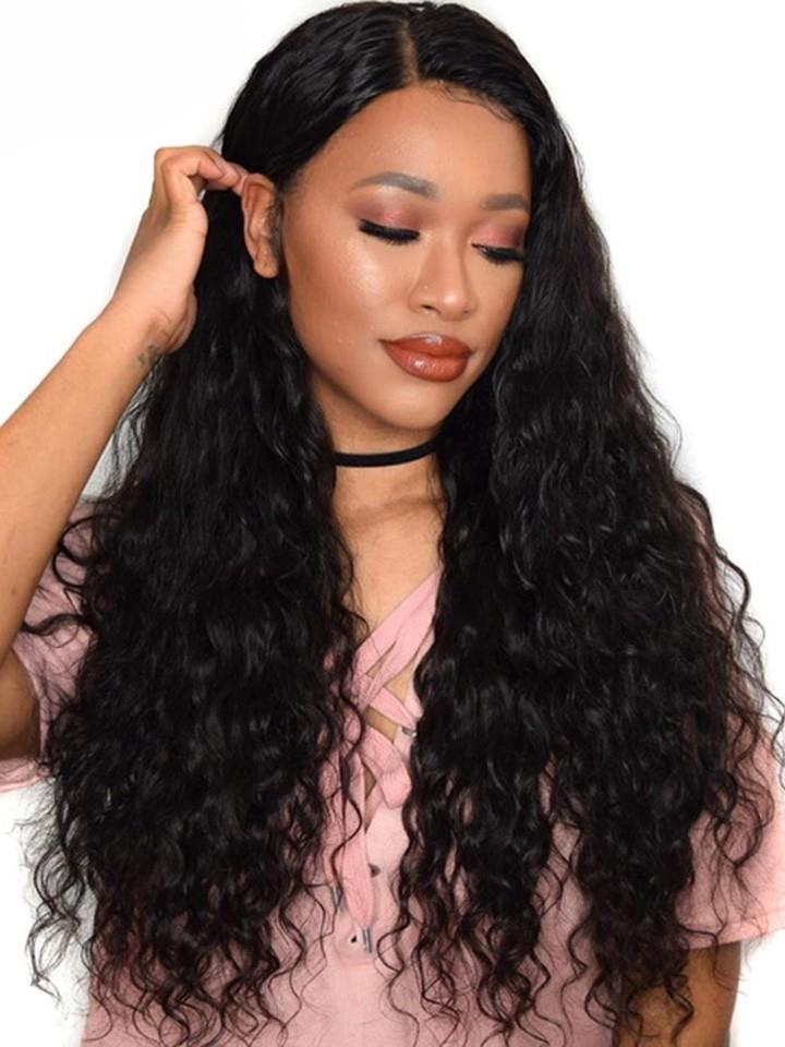Stylish small curly long hair 100% human hair wigs