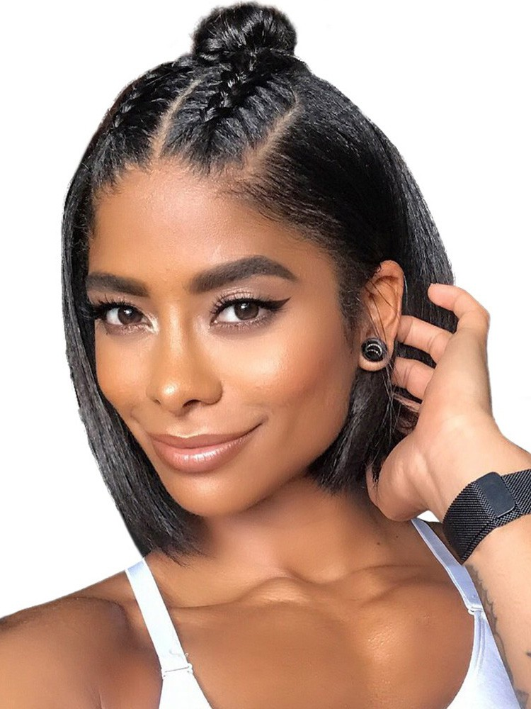 Super Short Lace Front Human Hair Wigs Deep Part Straight